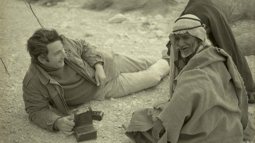 Researcher Clinton Bailey interviews a Bedouin elder in 1972. Credit: Boris Carmi from the Meitar Collection at the National Library of Israel Archives.