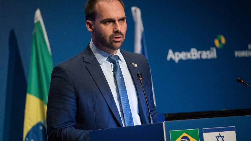 Eduardo Bolsonaro, son of Brazilian President Jair Bolsonaro and chairman of the Foreign Affairs and Defense Committee in Brazil's National Congress, speaks at an event opening the Brazilian Trade and Investment Promotion Agency in Jerusalem on Dec.15, 2019. Photo by Hadas Parush/Flash90.