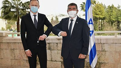 Czech Prime Minister Andrej Babiš and Foreign Minister Gabi Ashkenazi after inaugurating a new embassy branch in Jerusalem, March 11, 2021. Source: Gabi Ashkenazi via Twitter.