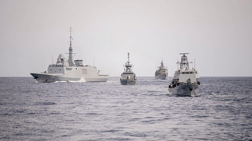 "Israel, Greek and Cypriot vessels take part in the ""Noble Dina"" naval exercise on March 12, 2021. Source: IDF Twitter."