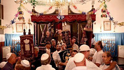Jewish community members at synagogue in Agadir City, Morocco. Photo by Abir Sultan/Flash90.