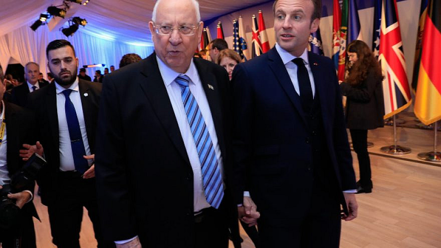 Israeli President Reuven Rivlin with French President Emmanuel Macron at the President's Residence in Jerusalem, Jan. 22, 2020. Photo by Olivier Fitoussi/Flash90.