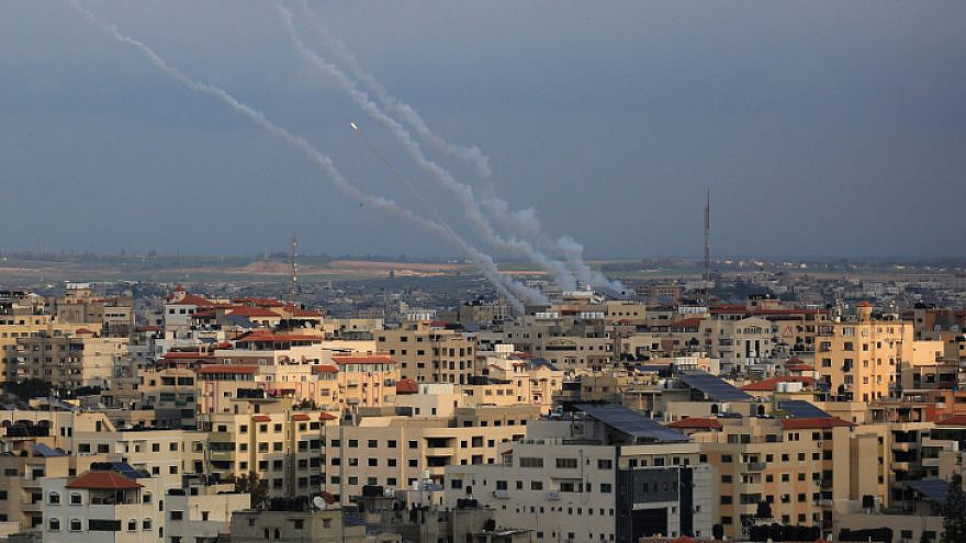 File photo: Smoke trails from rockets fired by Palestinian militants in Gaza City on Feb. 24, 2020. Photo by Ail Ahmed/Flash90.