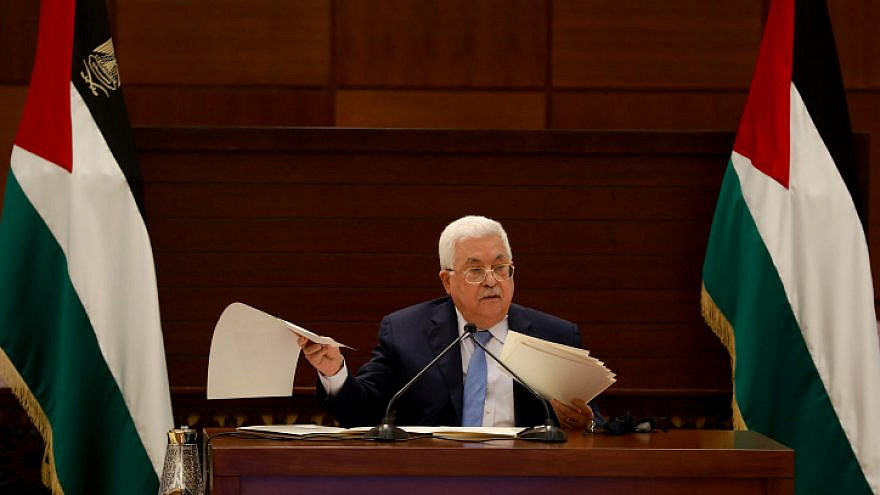 Palestinian Authority leader Mahmoud Abbas speaks during a meeting of the Palestinian leadership in the West Bank city of Ramallah, Sept. 3, 2020. Photo by Flash90.
