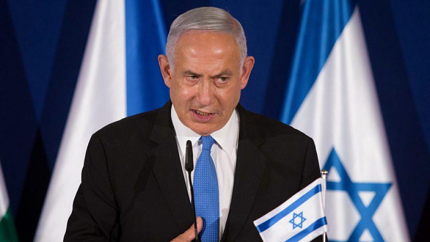 Israeli Prime Minister Benjamin Netanyahu speaks during a press conference with Hungarian Prime Minister Viktor Orbán and Czech Prime Minister Andrej Babiš in Jerusalem on March 11, 2021. Photo by Alex Kolomoisky/POOL.