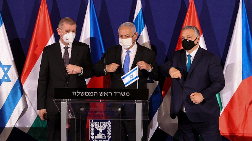 Israeli Prime Minister Benjamin Netanyahu, Hungarian Prime Minister Viktor Orbán and Czech Prime Minister Andrej Babiš hold a press conference in Jerusalem on March 11, 2021. Photo by Alex Kolomoisky/POOL.