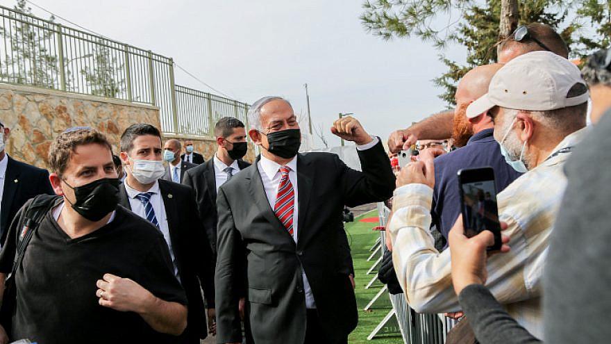 Israeli Prime Minister Benjamin Netanyahu attends a ceremony for a new neighborhood in Kfar Etzion, Gush Etzuib, on March 14, 2021. Photo by Gershon Elinson/Flash90.
