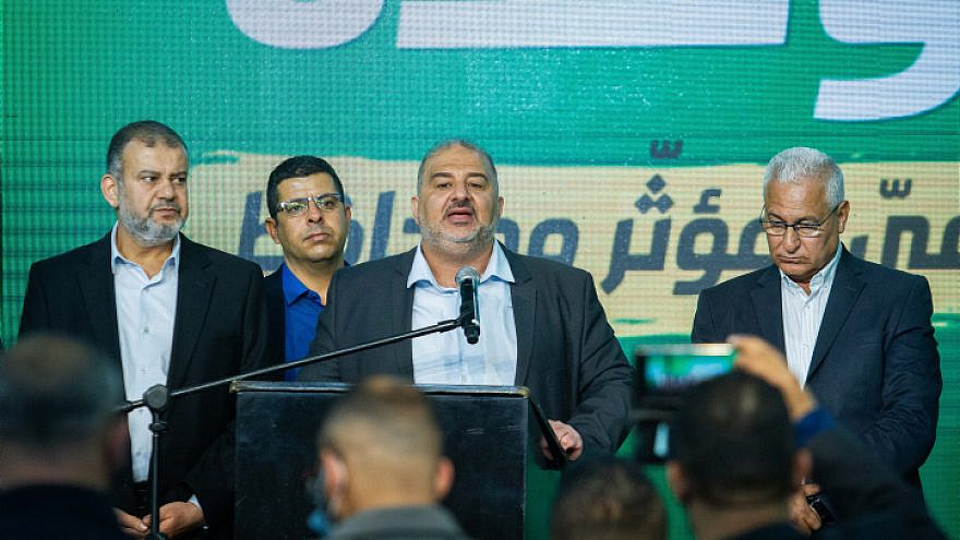 Ra'am Party leader Mansour Abbas and party members at their headquarters in Tamra on election night, March 23, 2021. Photo by Flash90.