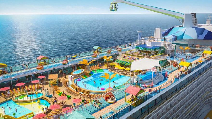 """Debuting in May 2021 in Haifa for the inaugural summer season, """"Odyssey of the Seas"""" has a two-level pool deck with two pools, a kids' aqua park and four whirlpools surrounded by casitas and hammocks. Photo courtesy of Royal Caribbean International."""
