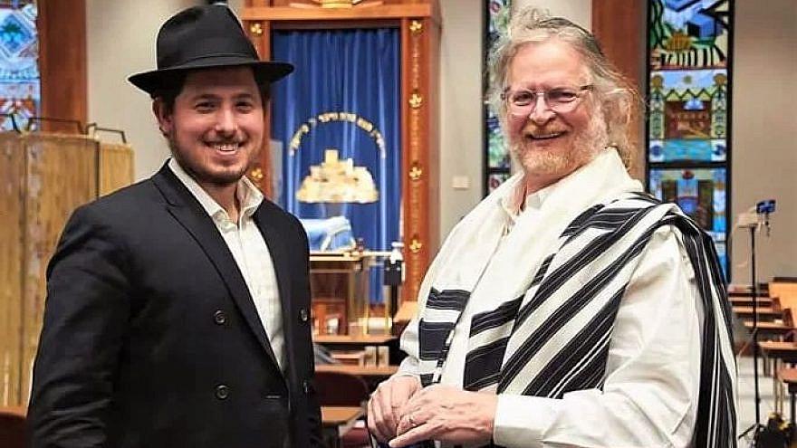 Rabbi Doobie Lisker with Robert Powell, 65, at his bar mitzvah ceremony, Jan. 7, 2021. Credit: Chabad.org/News.