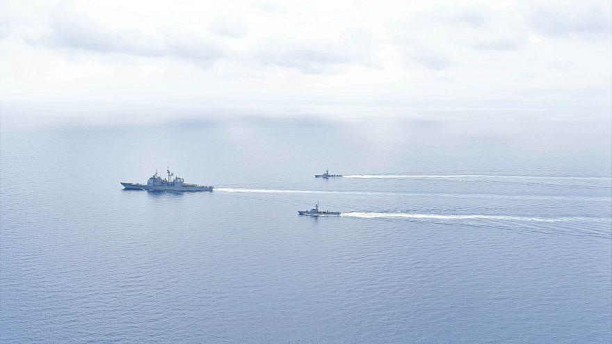 """Israeli naval forces and the Ticonderoga-class guided missile cruiser """"USS Monterey"""" conduct maritime security operations in the Eastern Mediterranean Sea, March 15, 2021.Credit: U.S. Navy."""