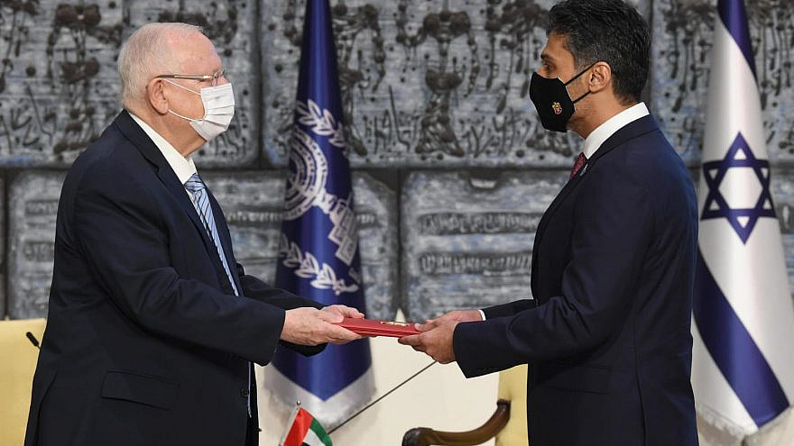 Israel's President Reuven Rivlin receives diplomatic credentials from the United Arab Emirates's first-ever ambassador to the Jewish state. Credit: Mark Neyman/GPO.