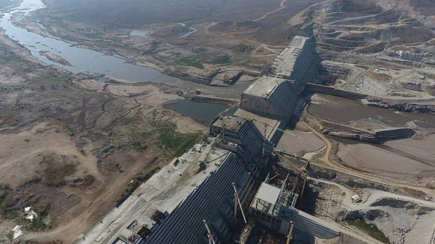 The Grand Ethiopian Renaissance Dam nears completion (Wikimapia)