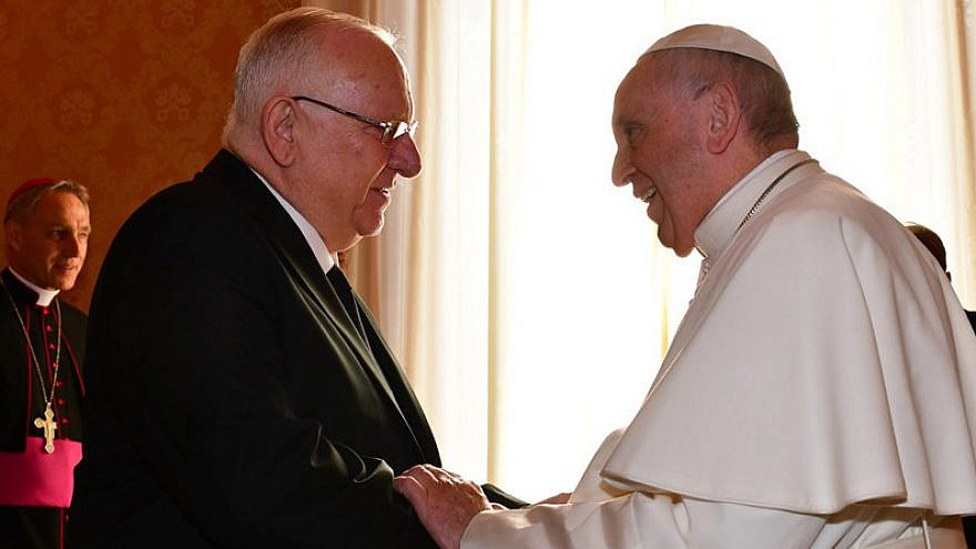 Israel's President Reuven Rivlin with Pope Francis on Nov. 15, 2018. Credit: Koby Gideon/GPO.