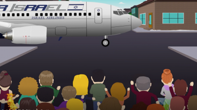 """An Israeli plane delivers coronavirus vaccines to residents of the television comedy cartoon """"South Park."""" Source: Screenshot."""