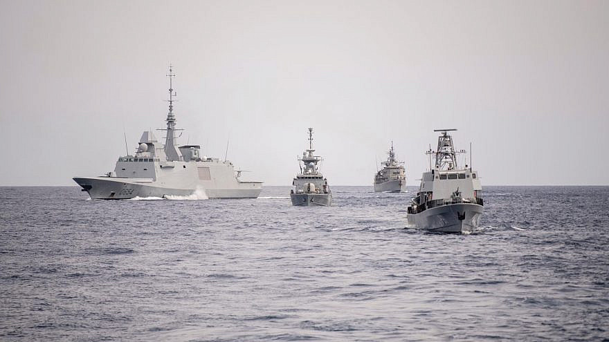 The American, French, Cypriot and Greek navies join Israel in as part of the Noble Dina exercise southwest of Cyprus. Credit: IDF Spokesperson's Unit.