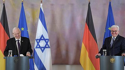 Israeli President Reuven Rivlin (left) and German President Frank-Walter Steinmeier at a joint press briefing after their meeting in Berlin, March 16, 2021. Credit: Amos Ben Gershom/GPO.