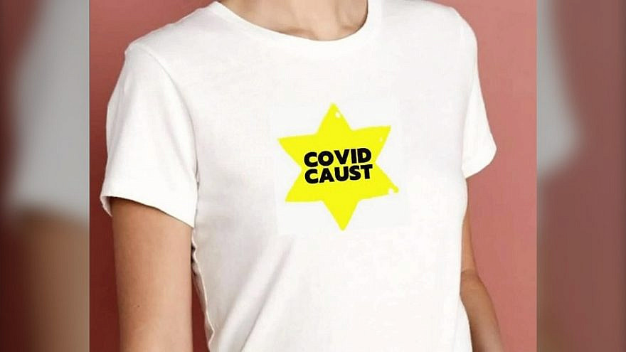 A T-shirt designed by Canadian TV producer Susan Standfield comparing COVID-19 vaccinations to the Holocaust. Source: Screenshot.