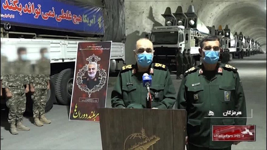 IRGC Commander-in-Chief Maj. Gen. Hossein Salami (center) at the unveiling of a new Iranian missile base. (MEMRI)