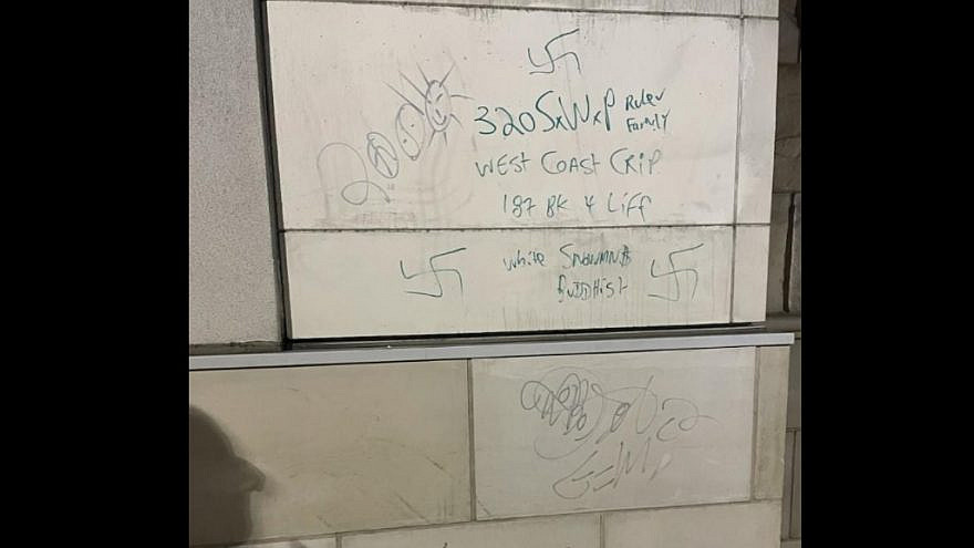 Swastikas found on student housing at San Diego State University. Source: Facebook via Chabad at SDSU.