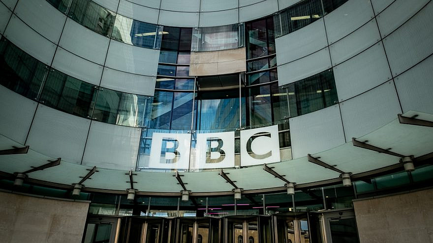 The headquarters of the BBC, or British Broadcasting Corporation, on Portland Place in London. Credit: Willy Barton/Shutterstock.