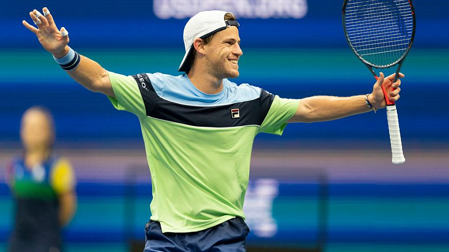 Diego Schwartzman of Argentina celebrates victory in round four of the 2019 U.S. Open Championship against Alexander Zverev of Germany at the Billie Jean King National Tennis Center in Queens, N.Y. Credit: Lev Radin/Shutterstock.
