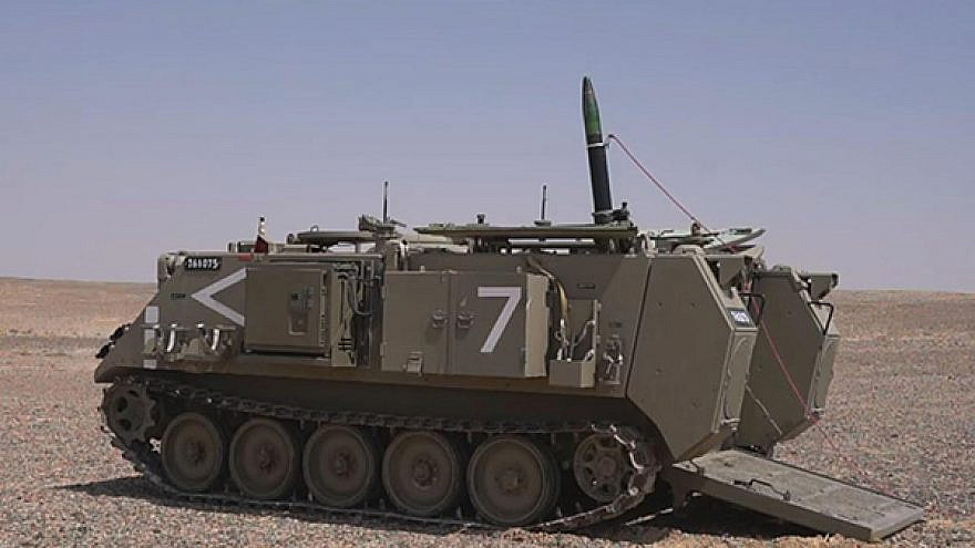 """A test of Israel's new """"Iron Sting"""" 120mm guided mortar. Credit: Elbit Systems."""