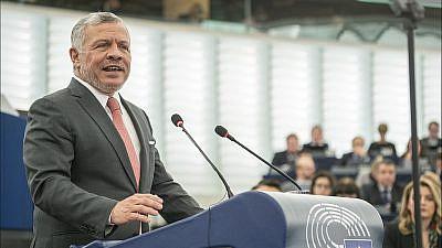 King Abdullah II of Jordan addresses the European Parliament in Strasbourg, France, on Jan. 15, 2020. Credit: European Parliament via Wikimedia Commons.