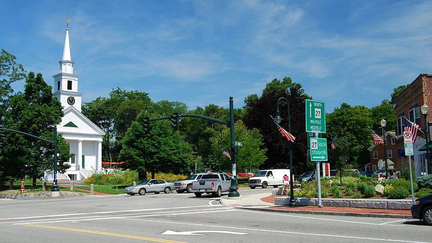 The town center of Sharon, Mass. Source: Wikimedia Commons.