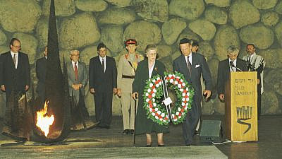 Prince Philip and his sister, Princess Sophie, lay a wreath at Yad Vashem in Jerusalem on Oct. 31, 1994. Credit: Beni Birk/The National Library of Israel.