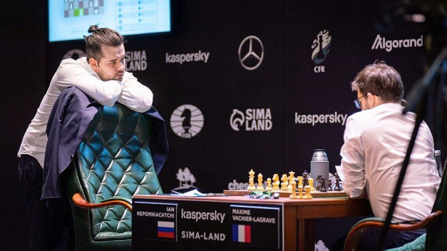 Russian Jewish chess player Ian Nepomniachtchi (left). Credit: FIDE International Chess Federation.