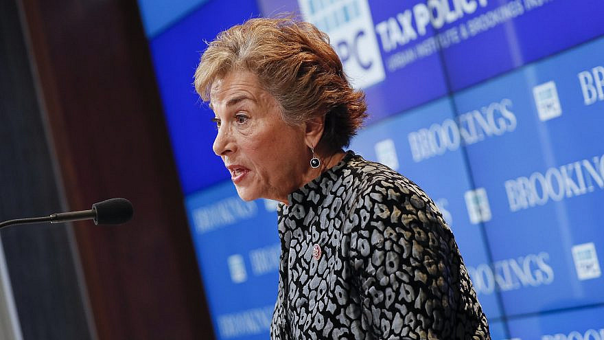 Rep. Jan Schakowsky (D-Ill.) delivers the keynote presentation at an event on taxing capital income, hosted by Urban-Brookings Tax Policy Center. Credit: Brookings Institute/Flickr.