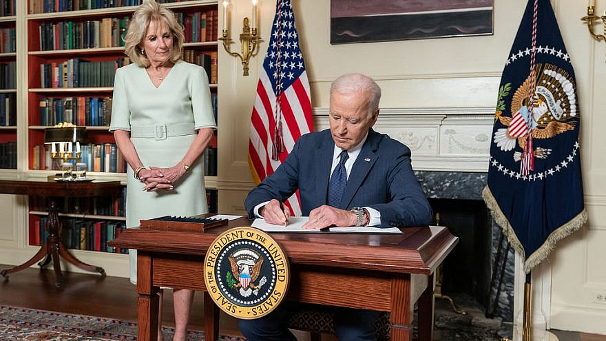 U.S. President Joe Biden, joined by First Lady Jill Biden, in the Library of the White House on March 31, 2021. Credit: Official White House Photo by Adam Schultz.