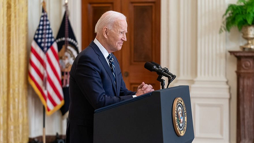 President Joe Biden participates in his first official press conference Thursday, March 25, 2021, in the East Room of the White House. Credit: Official White House Photo by Adam Schultz.