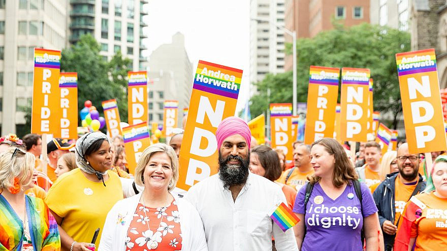 Jagmeet Singh (center), leader of Canada's New Democratic Party. Source: NDP/Twitter.