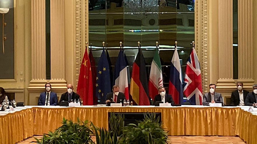 The Joint Commission of the Joint Comprehensive Plan of Action (JCPOA) meeting in Vienna on April 20, 2021. Source: Enrique Mora/Twitter.