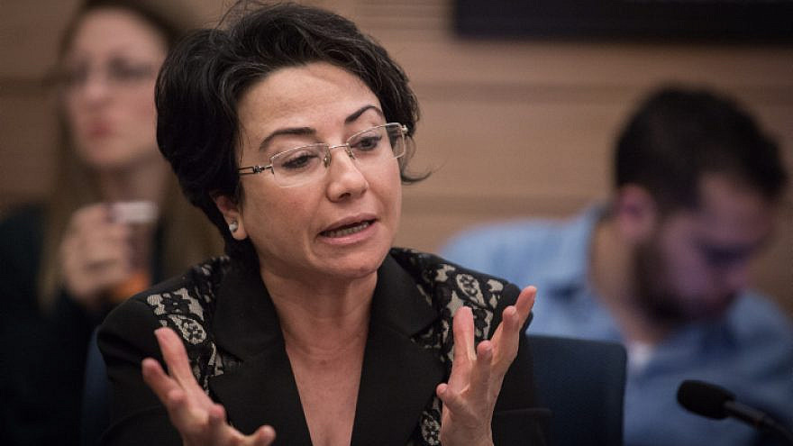 Knesset member Hanin Zoabi at an Education Committee meeting in the Knesset in Jerusalem, Jan. 17, 2018. Photo by Hadas Parush/Flash90.