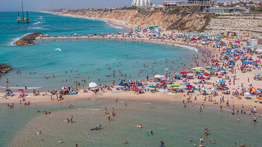 An aerial view of the beach in the southern Israeli coastal city of Ashkelon, on June 1, 2019. Photo by Edi Israel/Flash90.