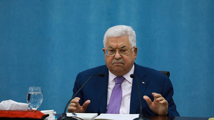 Palestinian Authority leader Mahmoud Abbas delivers a speech regarding the coronavirus outbreak, at the P.A. headquarters in Ramallah, May 5, 2020. Photo by Flash90.