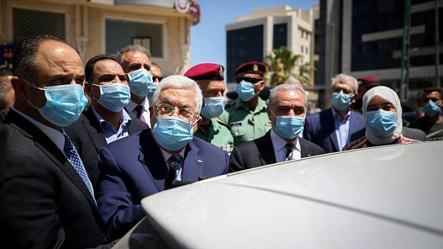 Palestinian Authority leader Mahmoud Abbas seen during a tour in the West Bank city of Ramallah, May 15, 2020. Photo by Flash90