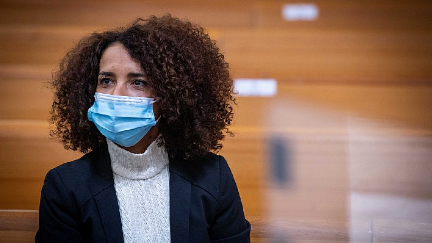 Labor Party member Ibtisam Mara'ana-Menuhin arrives for a hearing at the Supreme Court in Jerusalem, asking to overturn the decision of the Central Elections Committee to disqualify her candidacy in the March 23 general election, Feb. 24, 2021. Photo by Yonatan Sindel/Flash90.