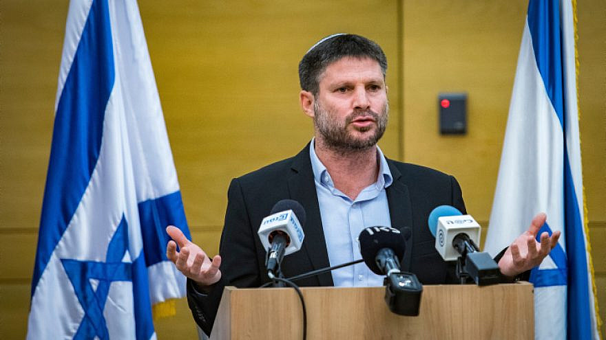 Tkuma Party head Bezalel Smotrich gives a press statement in the Knesset, in Jerusalem, on Apri 4, 2021. Photo by Olivier FItoussi/Flash90.