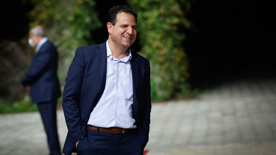 Ayman Odeh, head of Israel's Joint Arab List party, arrives at the President's Residence in Jerusalem on April 5, 2021. Photo by Yonatan Sindel/Flash90.