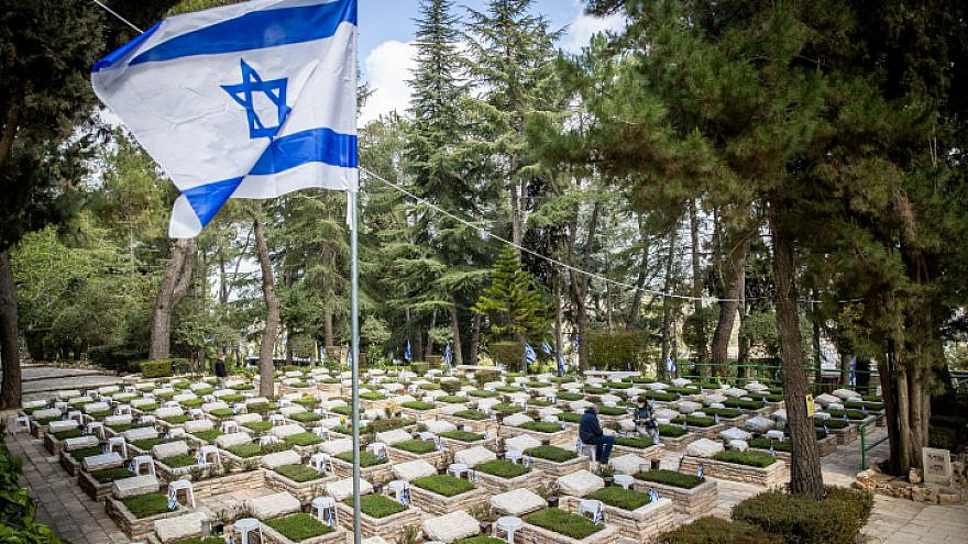 The Mount Herzl military cemetery in Jerusalem, a few days before Yom Hazikaron, April 11, 2021. Photo by Yonatan Sindel/Flash90.