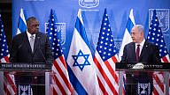 U.S. Secretary of Defense Lloyd Austin and Israeli Prime Minister Benjamin Netanyahu hold a joint press conference at the Prime Minister's office in Jerusalem on April 12, 2021. Photo by Yonatan Sindel/Flash90.