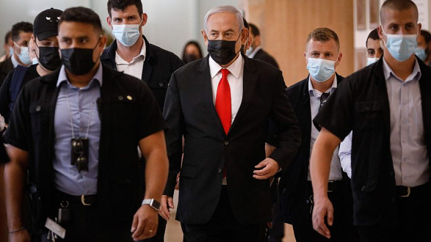 Israeli Prime Minister Benjamin Netanyahu arrives at a Likud Party meeting at the Knesset on April 19, 2021. Photo by Olivier Fitoussi/Flash90.