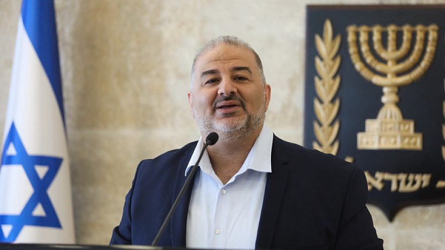 Mansour Abbas, head of the Ra'am Party, leads a faction meeting in the Knesset in Jerusalem on April 19, 2021. Photo by Olivier Fitoussi/Flash90.