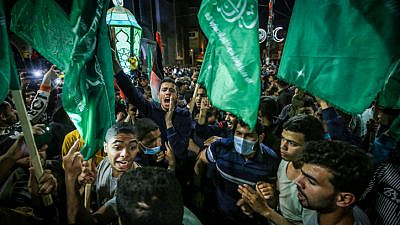 Palestinians in the city of Rafah, in the southern Gaza Strip, protest over growing tension in Jerusalem, April 25, 2021. Photo by Abed Rahim Khatib/Flash90.