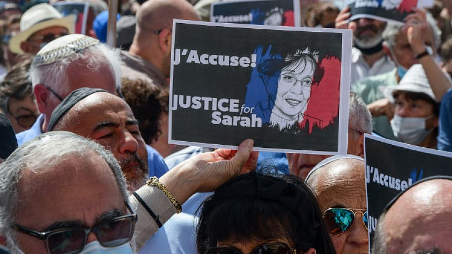 Protesters gather at the French embassy in Tel Aviv to demand justice for Sarah Halimi, who was murdered in 2017 by her Muslim neighbor in Paris, April 25, 2021. Photo by Avshalom Sassoni/Flash90.