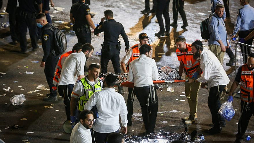 Israeli rescue forces and police at the scene after a mass fatality scene during celebrations of the Jewish holiday of Lag B'Omer in Meron, in northern Israel, on April 30, 2021. Photo by David Cohen/Flash90.